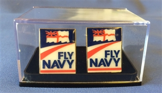 FLY NAVY LOGO CUFFLINKS