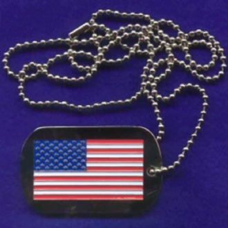 US DOG TAG WITH USA FLAG DESIGN