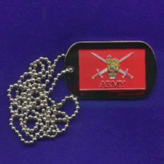BRITISH ARMY ENAMEL DESIGN DOG TAG WITH CHAIN