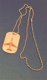 RED ARROWS HAWK PLAN VIEW DOG TAG WITH CHAIN