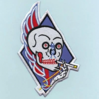 VA-34 - SMOKING SKULL SHAPED EMBROIDERED BADGE