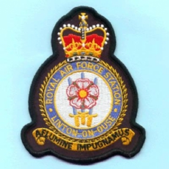 RAF LINTON-ON-OUSE OFFICIAL CREST EMBROIDERED BADGE