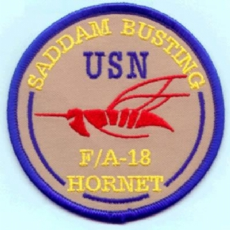 F-18 HORNET - SADDAM BUSTING EMBROIDERED BADGE