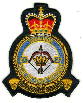 27 SQN RAF REGIMENT OFFICIAL EMBROIDERED CREST