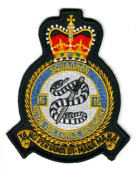 15 SQN RAF REGIMENT OFFICIAL CREST EMBROIDERED BADGE