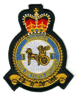 1 SQN RAF REGIMENT OFFICIAL CREST EMBROIDERED BADGE