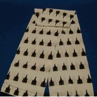 WHITE FLYING SCARF WITH BLACK TORNADO PRINTING