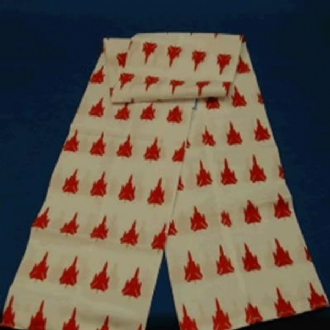 WHITE FLYING SCARF WITH RED TORNADO PRINTING