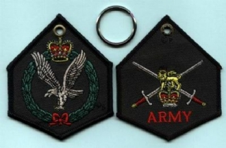ARMY EMBROIDERED KEYRING - SHAPED