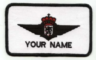 BELGIAN PILOT NAME BADGE