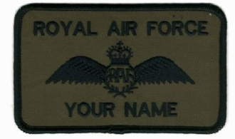 RAF PILOT CAMO NAME BADGE