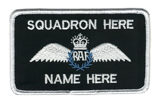 RAF RPA PILOT NAME BADGE WITH 2 LINES OF WRITING