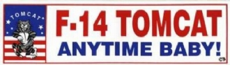 F-14 ANYTIME BABY BUMPER STICKER