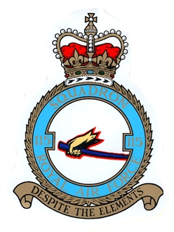 115 SQUADRON CREST ON PLAN VIEW PLANE STICKER