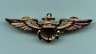 USN PILOT WING PIN BADGE